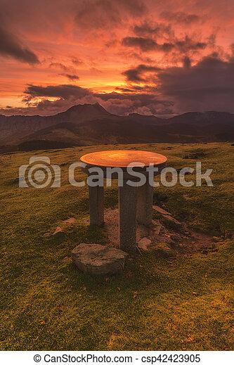 Orientation table in the Saibigain mountain - csp42423905