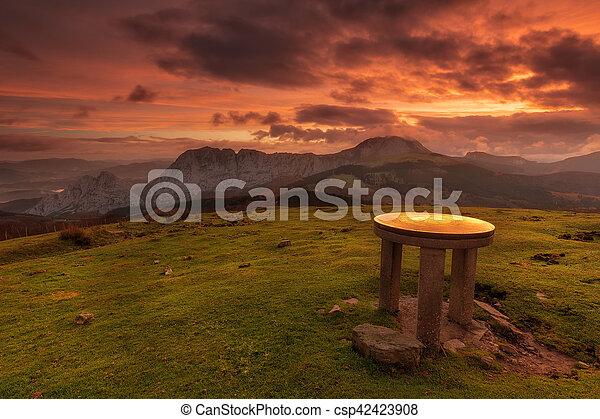 Orientation table in the Saibigain mountain - csp42423908