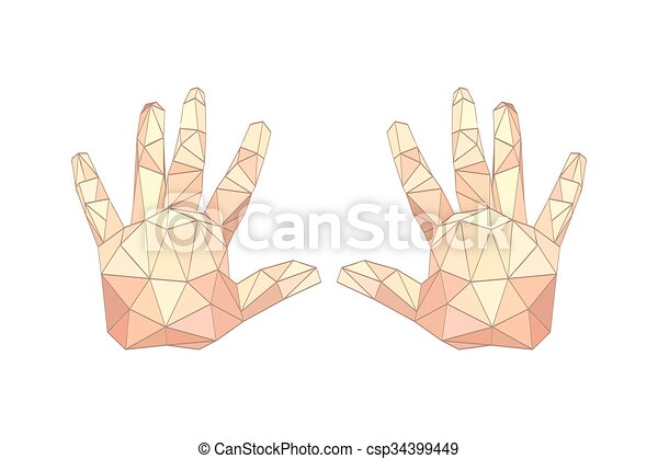 origami, 平ら, やし, イラスト, 手 - csp34399449