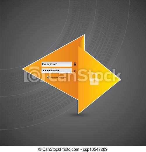 origami, 軌道に沿って進む, デザイン, ログイン, タイヤ - csp10547289