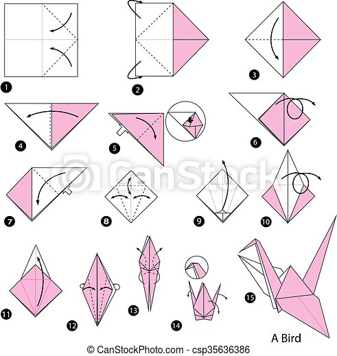 Step by step instructions how to make origami Vector Image | 470x442
