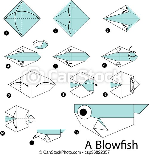 Step By Step Instructions How To Make Origami A Blow Fish