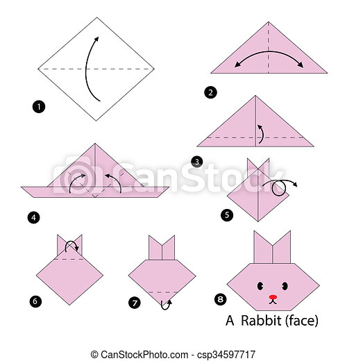 Step instructions how to make origami a black cat Vector Image | 470x450
