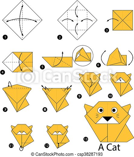 Step By Step Instructions How To Make Origami A Cat. Stock Vector ... | 470x399