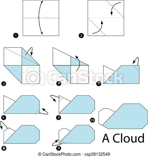 Step By Instructions How To Make Origami A Cloud