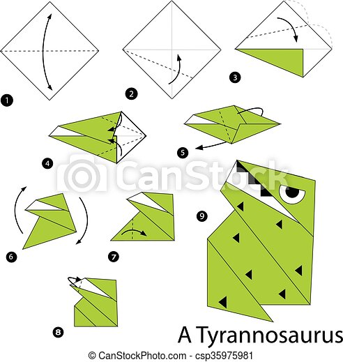 Step By Step Instructions How To Make An Origami A Dinosaur