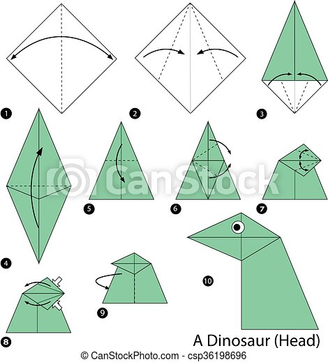 Step By Step Instructions How To Make Origami A Dinosaur Head