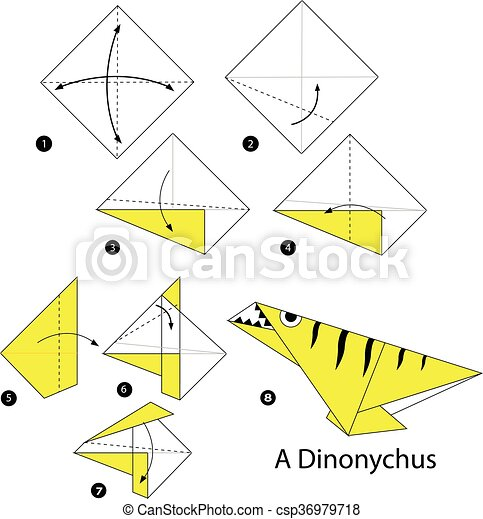 Step By Step Instructions How To Make Origami A Dinosaur