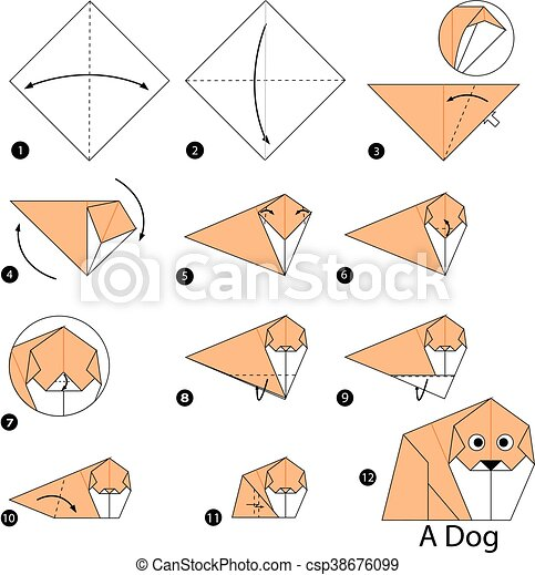 How To Fold An Easy Origami Dog Face - Folding Instructions ... | 470x435