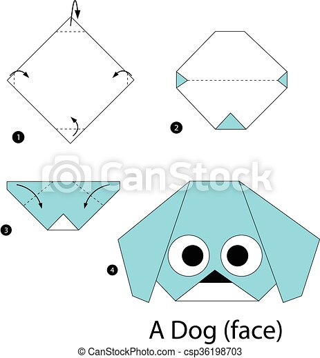 How to make easy origami dog - paper dog face step by step - YouTube | 470x417