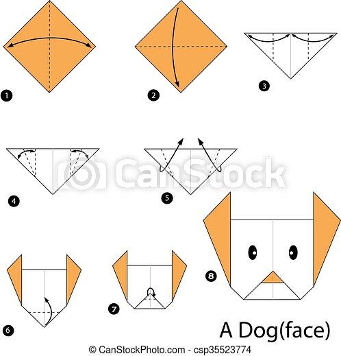 Step By Step Instructions How To Make Origami A Dog (face). Stock ... | 470x448