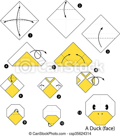 step by step instructions how to make origami a duck