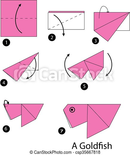 Step by step instructions how to make origami a butterfly fish. | 470x394