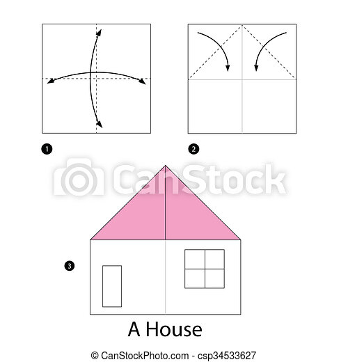 How To Make An Origami House - Folding Instructions - Origami Guide | 470x450
