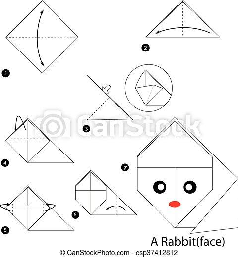 origami instructions | advanced origami bunny | Instruções origami ... | 470x432