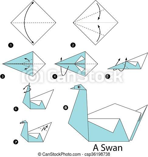 swan origami | Origami swan instructions, Origami diagrams ... | 470x439