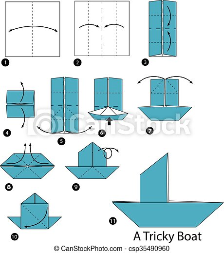 step by step instructions how to make origami a tricky boat