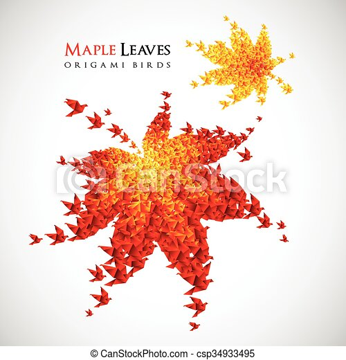 origami autumn leaves - vector flying birds - csp34933495