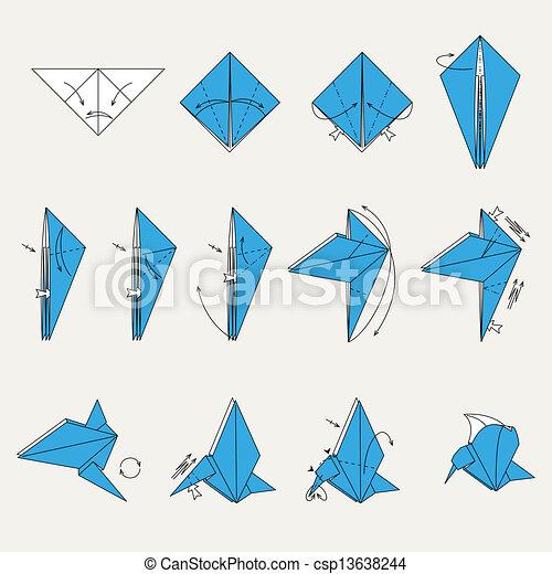 Origami Bird Origami Blue Vector Bird On Light Brown Background