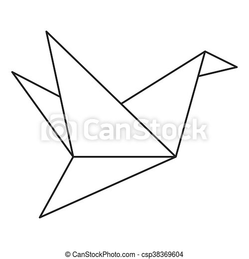 Simple Flat Design Origami Bird Icon Vector Illustration