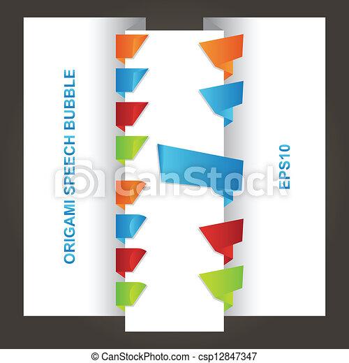 origami, bulles, parole, lustré, coloré - csp12847347