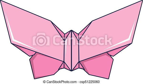 Origami Butterfly Icon Cartoon Style