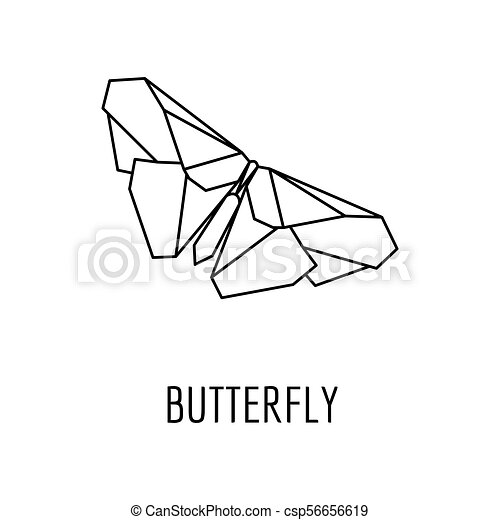 Origami Butterfly Icon Outline Style