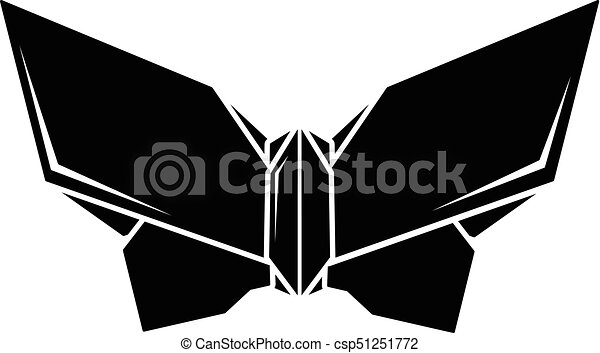 Origami Butterfly Icon Simple Black Style