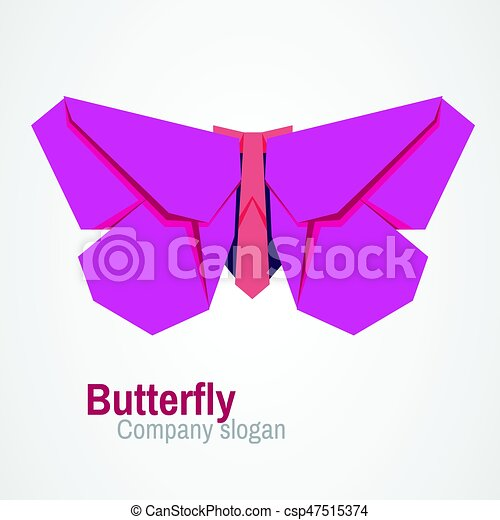 Origami Butterfly Logo Abstract Design Can