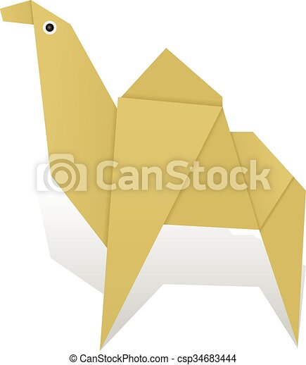 Origami Camel On A White Background Eps Vector