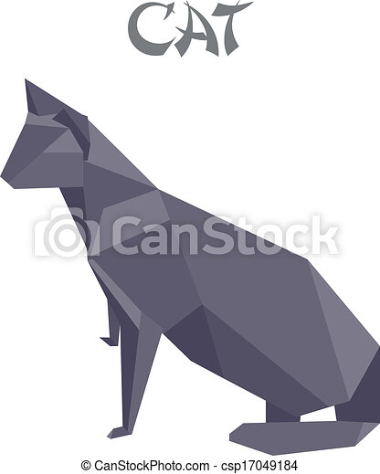 Geometric Shape Illustration Of An Origami Cat