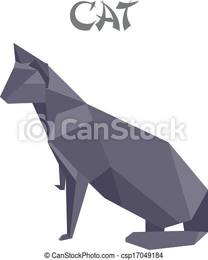 Geometric Shape Illustration Of An Origami Cat