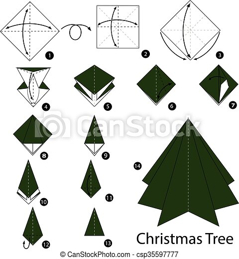 Step By Step Instructions How To Make Origami Christmas Tree