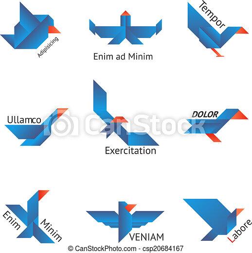 Un par de pájaros origami - csp20684167