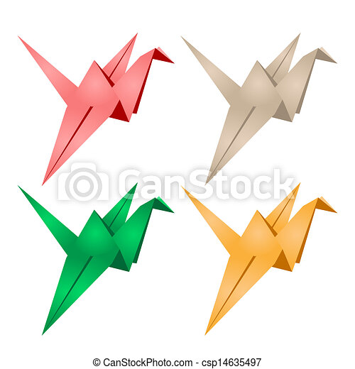 Origami Crane Four Colorful Cranes On A White Background