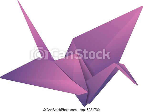 Origami Crane Purple Isolated Paper
