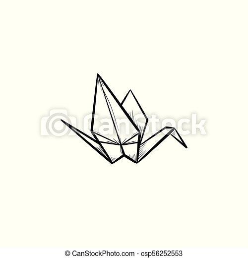 Origami Crane Hand Drawn Sketch Icon Origami Crane Hand Drawn