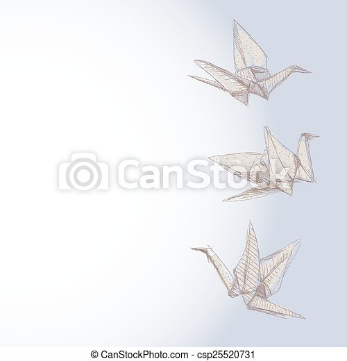 origami crane sketch - symbol of faith, hope and love. Banner for your text. vector - csp25520731