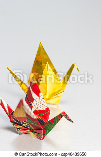 Origami Cranes Made Of Gold And Colorful Japanese Patterned Paper Extraordinary Patterned Origami Paper