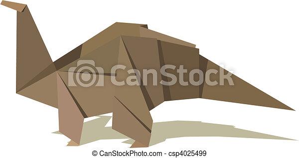 Origami dinosaurio Marrn dinosaur uno colores vector