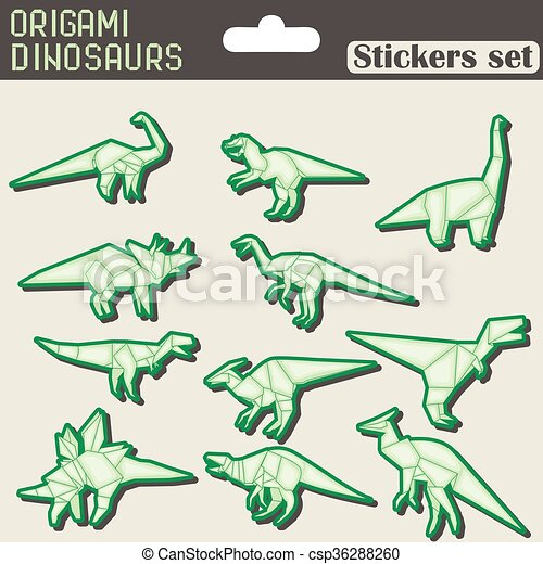 Origami dinosaurs stickers set Set of different origami dinosaurs