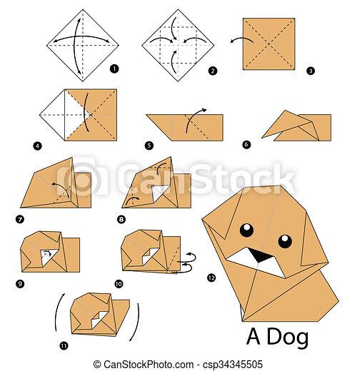 Origami Dog Animal Paper Cartoon