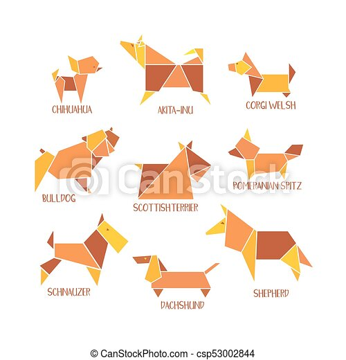 Origami Dogs Collection Icon Set Abstract Pet Dog