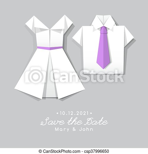 Vector Origami Dress And Shirt Wedding Invitation Template Clipart