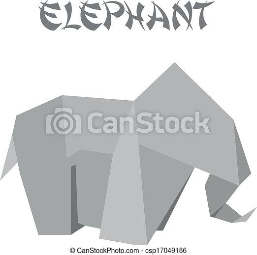 Geometric Shape Illustration Of An Origami Elephant
