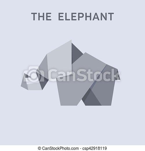 Origami Elephant Flat Style Design Illustration Animals