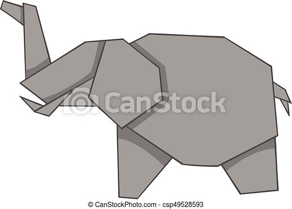 Origami Elephant Icon Cartoon Style