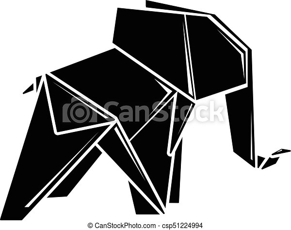 Origami Elephant Icon Simple Black Style