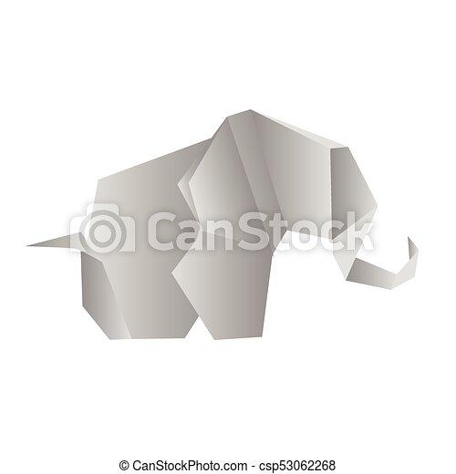 Origami Elephant Isolated On White Photo Realistic Vector Illustration