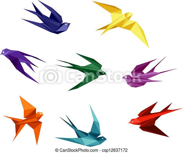 origami, estilo, golondrinas - csp12637172